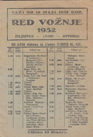 1952 Yugoslavia Railways Aviation Bus Transport Timetable Zagreb Main Station - Europe
