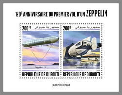 DJIBOUTI 2020 MNH 1st Flight Zeppelin Erstflug 1er Vol Du Zeppelin 400FD M/S - OFFICIAL ISSUE - DHQ2044 - Zeppelins