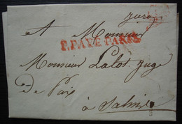 1826, Port Payé De Paris En Rouge, Marque Linéaire Sur Lettre Pour Salins (Jura) - 1801-1848: Precursors XIX
