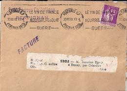 TYPE PAIX N°281 SUR FACTURE  DE PERPIGNAN/30.XI.33 - 1932-39 Paz