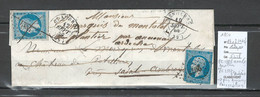 France - Lettre - Yvert 14 X 2 - Genolhac Puis Saint Ambroix  Puis Annonay - Gard Et Ardeche - 1859 - Réexpédition - 1849-1876: Periodo Clásico