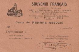 Carte Vierge De Membre Du SOUVENIR FRANCAIS. TTB. - Documenti