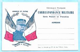 Carte En Franchise Militaire - HONNEUR ET PATRIE -- GLOIRE A JOFFRE -- Guerre 1914-1918 - WW1 - Tarjetas De Franquicia Militare