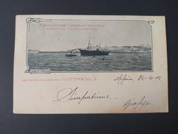 """Bateau - Paquebot - Dal Bordo Del Piroscafo """"GOTTARDO"""" Navigazione Generale Italiana, Societa Riunite Florio & Rubattino - Passagiersschepen"""