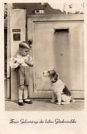 DC902 - Ak Kleiner Junge Mit Süßem Hund, Glückwunsch Zum Geburtstag - Cumpleaños