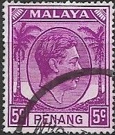 PENANG 1949 King George VI - 5c - Purple FU - Penang