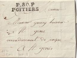 """1820 -LAC Port Payé De POITIERS """"P80P POITIERS 35x11 Pour St GENIS Taxe 10? Au Verso - 1801-1848: Vorläufer XIX"""