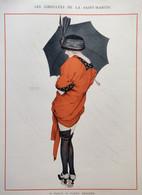 Les Giboulées De La Saint Martin - Raphaël Kirchner 1914 Estampe Vie Parisienne Paris - Femme Pluie Mode Sexy Pinup MF1 - Prints & Engravings