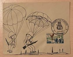 Enveloppe Décorée à La Main Parachutistes Affranchie Oblitération Journée Du Timbre Avignon Vaucluse 1955 - Gedenkstempel