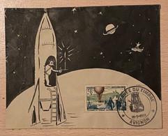 Enveloppe Décorée à La Main Fusée Affranchie Oblitération Journée Du Timbre Avignon Vaucluse 1955 - Gedenkstempel