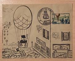 Enveloppe Décorée à La Main Ballon Monté Agent De Police Affranchie Oblitération Journée Du Timbre Avignon Vaucluse 1955 - Gedenkstempel