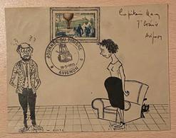 Enveloppe Décorée à La Main Jeune Fille Enceinte Affranchie Oblitération Journée Du Timbre Avignon Vaucluse 1955 - Gedenkstempel