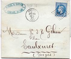 """FRANCE : GC 818 . """" CERNAY """". (66) . N° 29 .1869 . VOIR FACTURE A L'INTERIEUR .  . - 1849-1876: Periodo Clásico"""