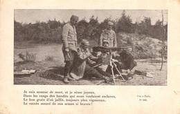 Thematiques Mitrailleuse Je Suis Semeur De Mort Ecrite Datée Main 1918  77 Infant 9 Bat Secteur Postal 188 - Weltkrieg 1914-18
