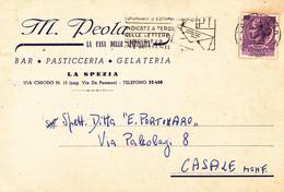 """LA SPEZIA - VIA CHIODO - CARTOLINA COMMERCIALE """"M.PEOLA BAR PASTICCERIA GELATERIA /CASA DELLE SPECIALITA'"""" - 1963 - La Spezia"""