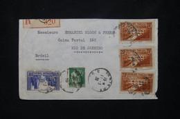 FRANCE - Pont Du Gard X3 + La Rochelle + Paix Sur Enveloppe En Recommandé De Paris En 1936 Pour Rio De Janeiro - L 76538 - 1921-1960: Periodo Moderno