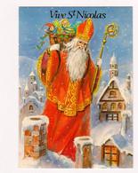 CPM St Nicolas Santa Claus Sinterklaas : Sur Les Toits Dans La Neige Avec La Hotte Pleine De Jouets - ESP Paris 411/4 - San Nicolás