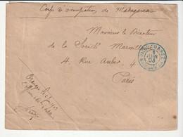 Lettre En Franchise Militaire Du Corps D'Occupation De Madagascar , Cachet Bleu Diégo-Suarez,1903 - Ohne Zuordnung