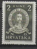 CROAZIA - 1943 - KRSTO FRANKOPAN- 2 K- NUOVO MH* (YVERT 96- MICHEL 104) - Croatia