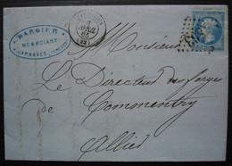Jarnages (Creuse) 1865 Gc 1863 Dargier Négociants Fontes Aciers Métaux, Verres Et Vitres Pour Commentry - 1849-1876: Classic Period