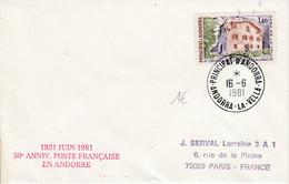 ANDORRE LETTRE POUR LA FRANCE 1981 - Brieven En Documenten