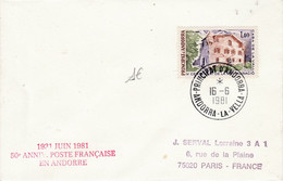 ANDORRE LETTRE POUR LA FRANCE 1981 - Cartas