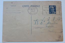 1945-1954 TYPE MARIANNE DE GANDON Y&T 812-CP2 12f .OUTREMER SUR CHAMOIS CLAIR OMEC REIMS 23/01/1952  TB.. - Standard- Und TSC-AK (vor 1995)