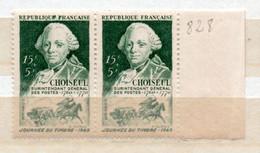 FRANCE N° 828 15F+ 5F VERT JOURNEE DU TIMBRE E DE REPUBLIQUE CAVIARDEE TENANT A NORMAL NEUF SANS CHARNIERE - Curiosa: 1945-49 Postfris
