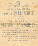 """WWII - 1939- Circulaire En Faveur D'une Lecture De """" MEIN KAMPF """"  Organisé Par """"Jeunesses Républicaines Des B. Du Rhône - Documentos Históricos"""