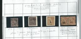 5 Timbres Des Colonies Type ALPHEE DUBOIS Surchargés ...........à Voir - Ohne Zuordnung