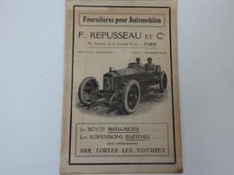 Très Beau Catalogue 11 P. Fournitures Automobiles F. Repusseau Et Cie 50, Av. De La Grande Armée à Paris. - Automobili