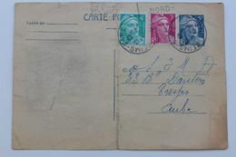 1945-54 TYPE MARIANNE DE GANDON Y&T 719B-CP1 5f BLEU SUR CHAMOIS COMPLEMENT Y&T 719B ET 807 5f Et 4f CAD REIMS-GARE - Standard- Und TSC-AK (vor 1995)