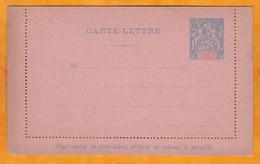 Entier Postal Type Groupe Carte Lettre 25 Centimes Bleu Sur Papier Rose - Non Utilisé - Bords Collés - Enteros Postales