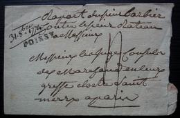 1774 Poissy, Marque 23 X 4 Sur Lettre Incomplète, Voir Photos - 1701-1800: Precursori XVIII