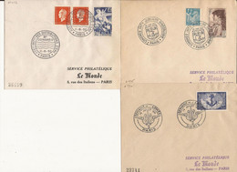 LOT DE 3 ENVELOPPES PREMIER JOUR DIVERSES 1951 1952 - Storia Postale