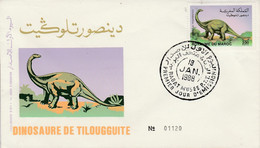 MAROC FDC 1988 DINOSAURE DE TILOUGGUITE - Morocco (1956-...)