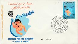 MAROC FDC 1987 SURVIE DE L'ENFANT - Morocco (1956-...)