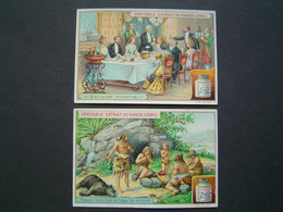 2 X CHROMO Ancien : LIEBIG / BANQUET MODERNE - REPAS AGE DE PIERRE - Liebig