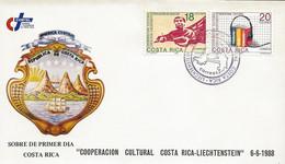 COSTA RICA LIECHTENSTEIN CULTURAL COOPERATION Sc 401-402 FDC 1988 - Costa Rica