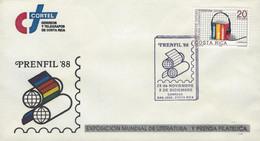 COSTA RICA COVER PRENFIL'88 EXPO LITERATURE And PHILATELIC PRESS, RADIO PROGRAMS Sc 402 1988 - Costa Rica