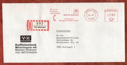 Einschreiben Reco, Absenderfreistempel, Raiffeisenbank Moetzingen-Iselshausen, 280 Pfg, 1985 (99062) - Marcofilia - EMA ( Maquina De Huellas A Franquear)