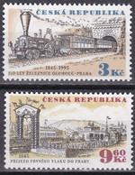 Md_ Tschechische Republik 1995 - Mi.Nr. 81 - 82 - Postfrisch MNH - Eisenbahnen Railways - Treni
