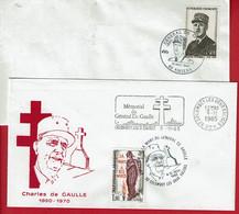 """1985 -  SECAP """"Mémorial Du Général De Gaulle """" Colombey Les 2 Eglises Et Oblit. 15eme Anniversaire De Sa Mort - Commemorative Postmarks"""