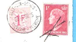 """Marcophilie-Griffe D'annulation""""Croix De Saint-André""""sur Timbre Du Luxembourg-Cachet Alle-Sur-Semois-1959-sur CP Vianden - Sonstige"""