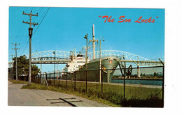 "SAULT STE. MARIE, Michigan, USA, Steamer ""WESTFALEN"" In Locks, Old Chrome Postcard - Sonstige"