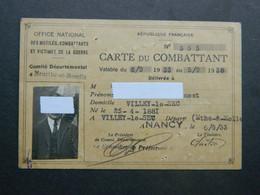 Carte Du Combattant 1933 à 1938 Autorisant Le Port De La Croix Du Combattant Villey Le Sec Nancy - Dokumente