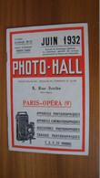 Catalogue Du Magasin PHOTO-HALL Paris Juin 1932 - Publicidad