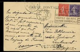 Carte-vue: France: Lille (La Grand'Place) Obl. Lille Gare - Nord 1929  + Griffe De VERVIERS - Linear Postmarks