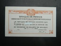 Certificat Versement D'Or Pour La Défense Nationale Banque De France 1915 - Dokumente