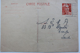 1945-1954 TYPE MARIANNE DE GANDON Y&T 885-CP1 12f ORANGE SUR CHAMOIS CLAIR CIRCULEE - Standard- Und TSC-AK (vor 1995)
